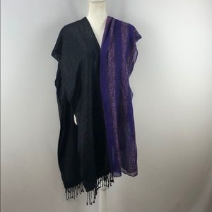 Two scarves. Black and purple